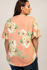 Salmon Peony Floral Button Tie Front Plus Top