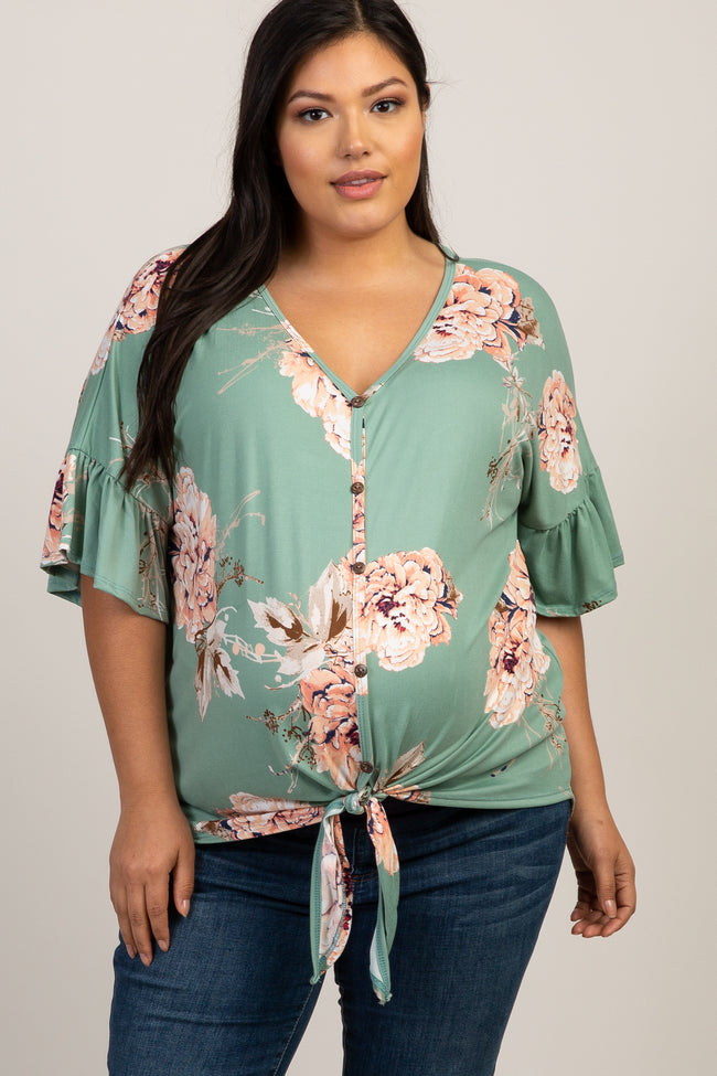 Mint Peony Floral Button Tie Front Plus Maternity Top