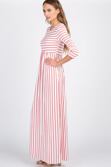 Coral Striped Pleated Maxi Dress