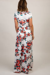 Ivory Floral Short Sleeve Maxi Dress
