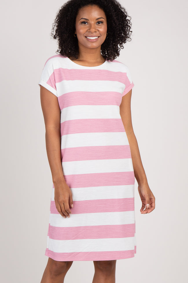 Pink Striped Rolled Short Sleeve Dress