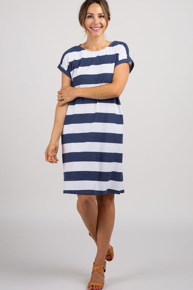 Navy Striped Rolled Short Sleeve Maternity Dress