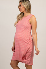 Coral Striped Knotted Hem Dress