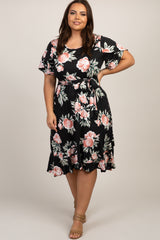 Black Floral Ruffle Trim Plus Midi Dress