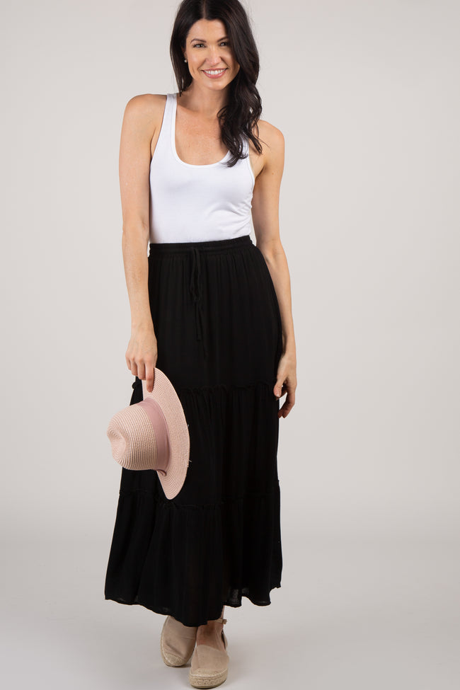 Black Tiered Maternity Maxi Skirt