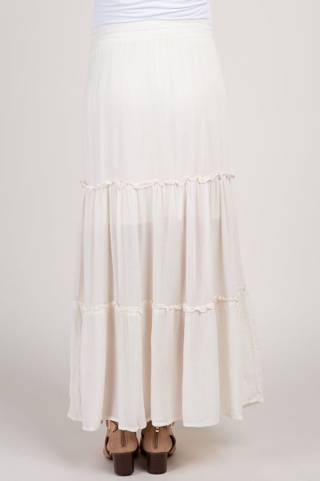 Ivory Tiered Maternity Maxi Skirt