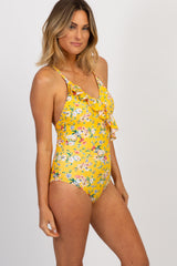 Yellow Floral Front Ruffle One-Piece Swimsuit