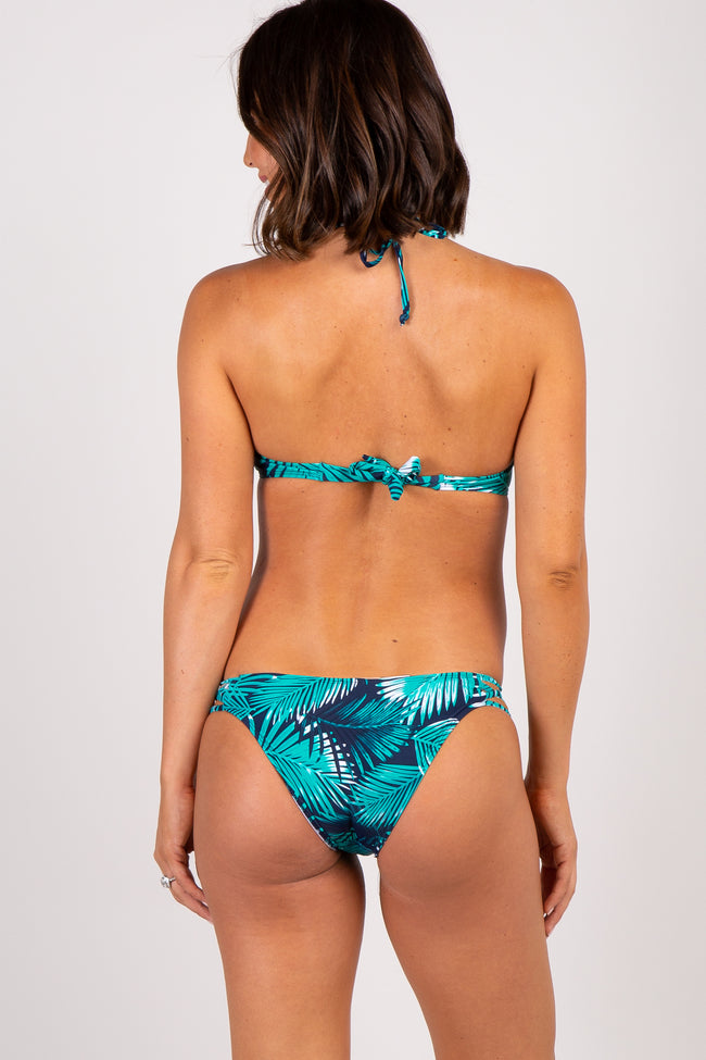 Green Leaf Print Front Caged Maternity Bikini Set