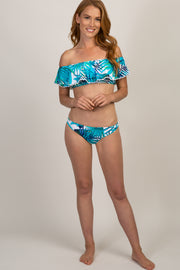 Turquoise Leaf Print Off Shoulder Bikini Set