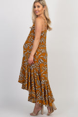 Mustard Leaf Print Hi-Low Ruffle Hem Maternity Dress