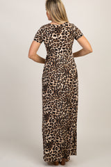 Brown Leopard Print Short Sleeve Maternity Maxi Dress