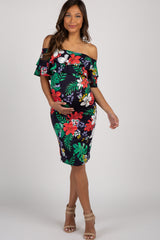 Navy Blue Floral Ruffle Off Shoulder Maternity Dress