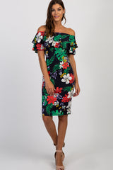 Navy Tropical Floral Ruffle Off Shoulder Dress