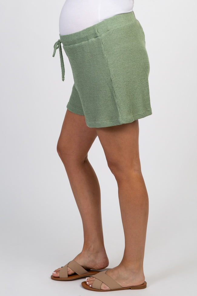 Sage Green Drawstring Waist Knit Maternity Shorts