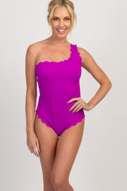 Fuchsia Scalloped One Shoulder One-Piece Swimsuit
