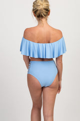 Light Blue Ruffle Off Shoulder Bikini Set