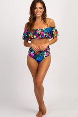 Multi Color Floral Ruffle Off Shoulder Bikini Set
