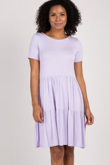 Lavender Solid Crisscross Back Babydoll Maternity Dress