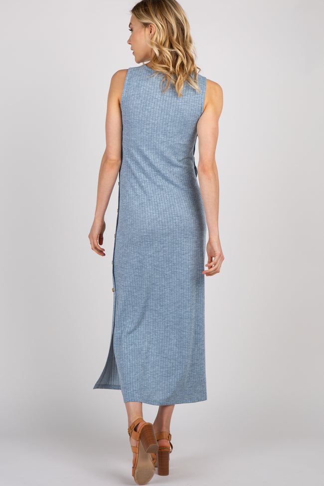 Blue Solid Side Button Accent Maternity Maxi Dress