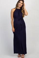 Navy Solid Halter Neck Sash Tie Maternity Maxi Dress