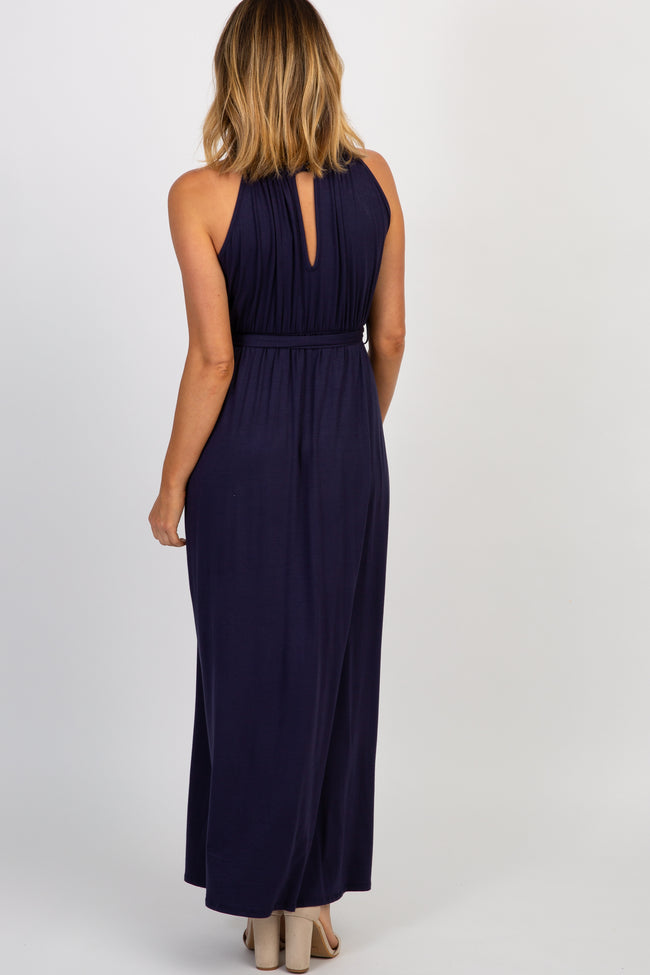 Navy Solid Halter Neck Sash Tie Maxi Dress