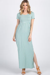 Mint Green Striped Short Sleeve Maternity Maxi Dress