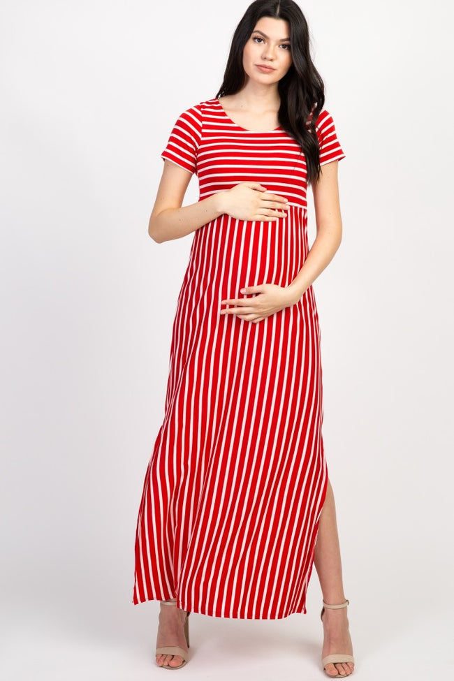 Red Striped Short Sleeve Maternity Maxi Dress