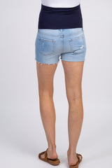 PinkBlush Light Blue Raw Hem Maternity Jean Shorts