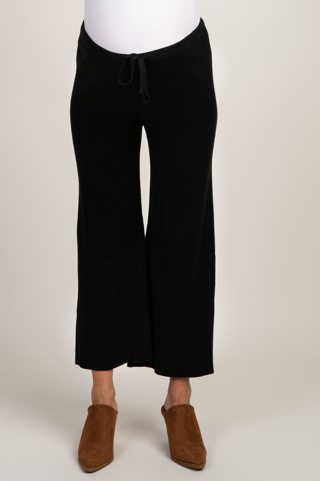 Black Ribbed Cropped Knit Maternity Pants