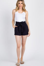 Navy Button Front Paper Bag Waist Shorts