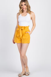 Mustard Button Front Paper Bag Waist Shorts