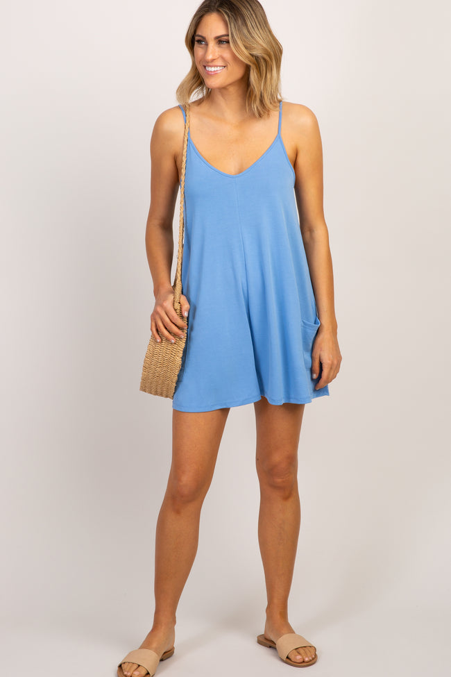 Light Blue Cami Strap Maternity Romper