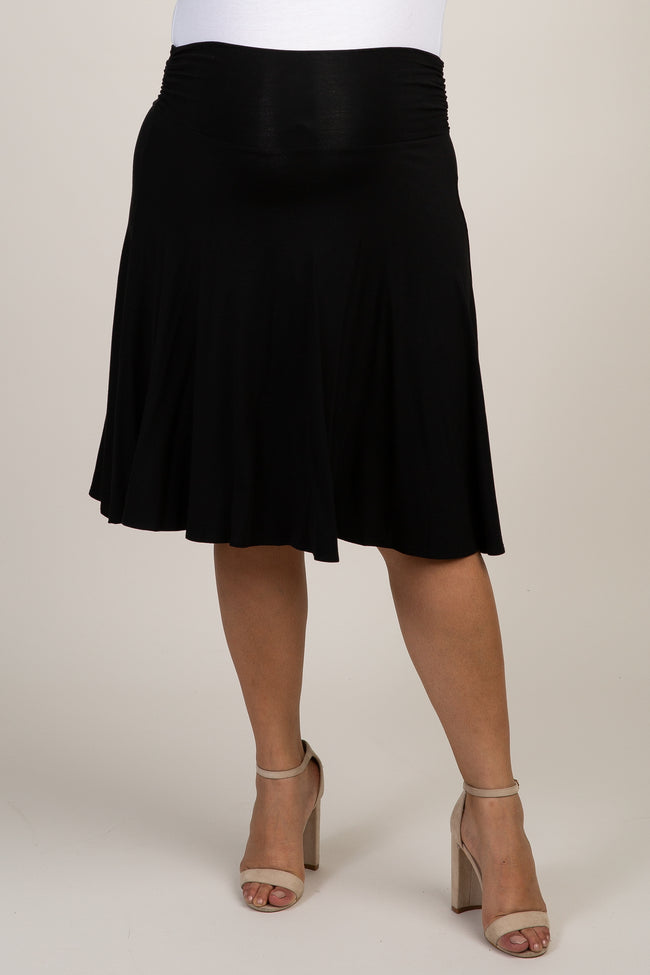 Black Solid Plus Maternity Skirt