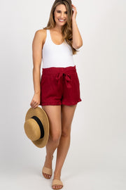 Red Ruffle Trim Flounce Maternity Shorts