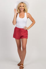 Red Button Sides Frayed Hem Maternity Shorts