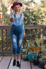 Blue Distressed Raw Hem Denim Maternity Overalls