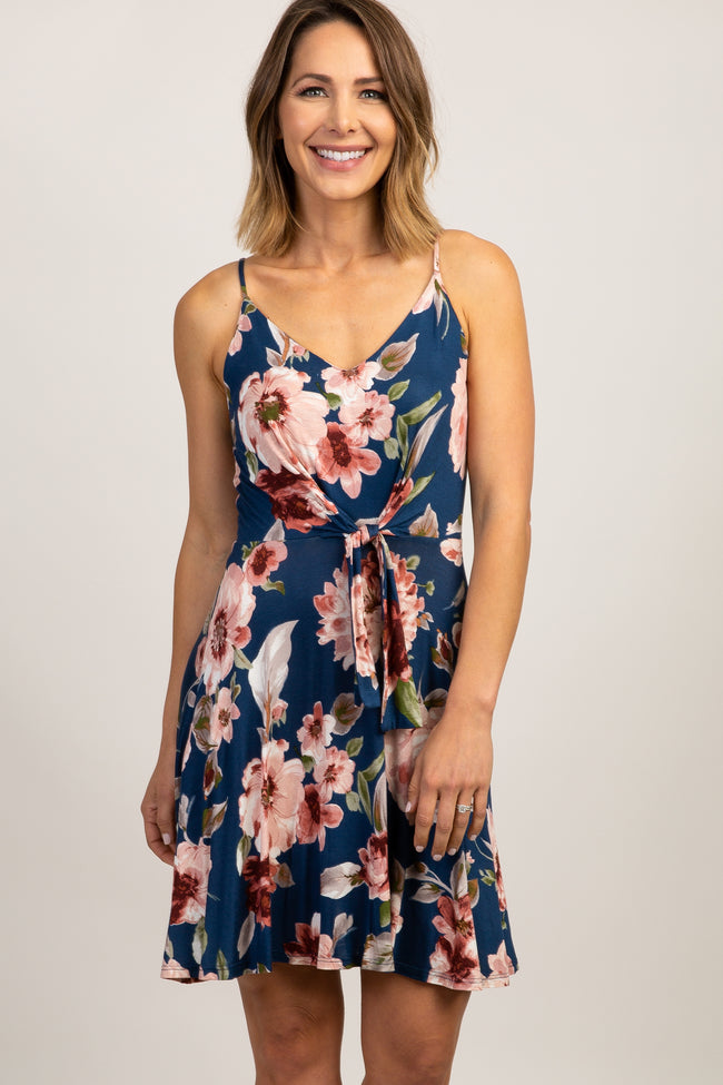 Blue Floral Knot Front Cami Strap Dress