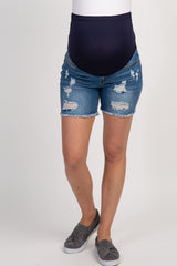 PinkBlush Navy Distressed Raw Hem Maternity Denim Shorts