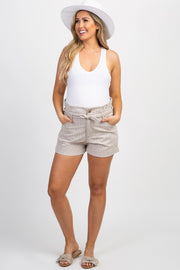 Beige Striped Sash Tie Maternity Shorts
