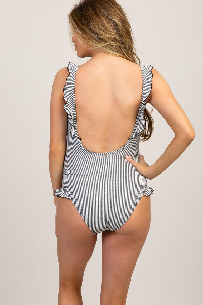 Black Plaid Ruffle One-Piece Maternity Swimsuit