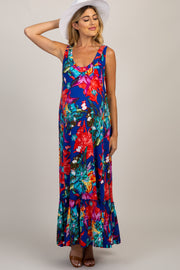 Royal Blue Abstract Floral Maternity Maxi Dress