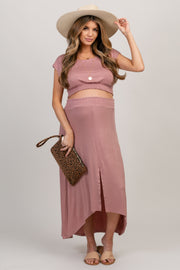 Mauve Short Sleeve Top Hi-Low Skirt Maternity Set