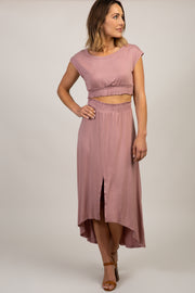 Mauve Short Sleeve Top Hi-Low Skirt Set