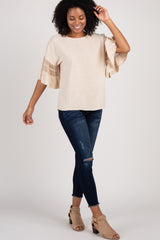 Taupe Crochet Accent Ruffle Sleeve Top