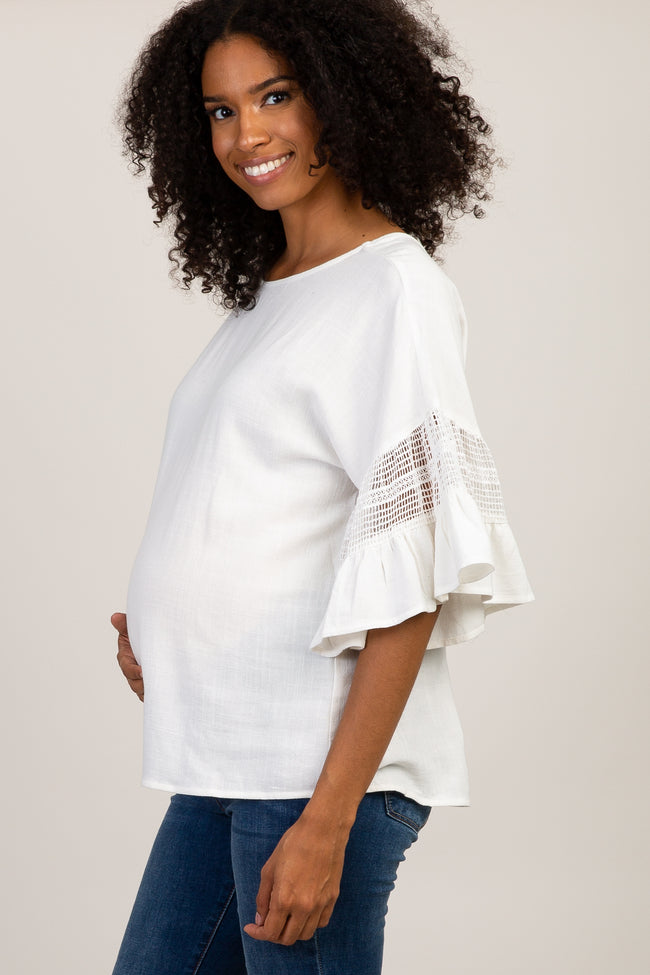 White Crochet Accent Ruffle Maternity Top