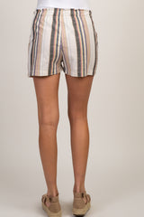 Multi-Color Striped Tie Front Maternity Shorts