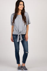 Heather Grey Striped Knot Front Maternity Top