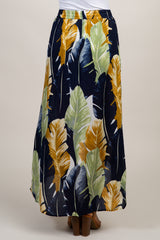 Navy Blue Leaf Print Hi-Low Skort