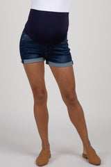 PinkBlush Dark Navy Cuffed Maternity Jean Shorts