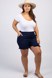Navy Ruffle Hem Plus Shorts